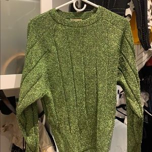 Green shimmer sweater.